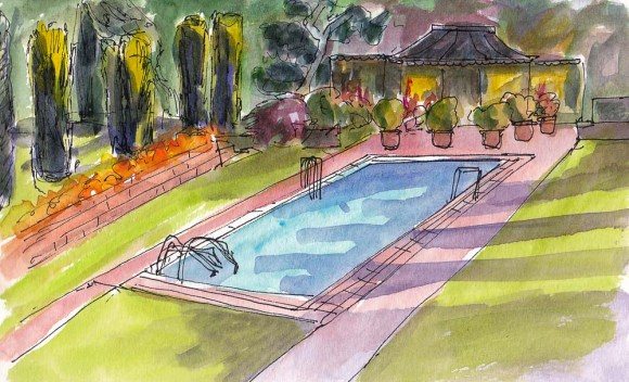 Filoli Pool, ink and watercolor, 5x7 in