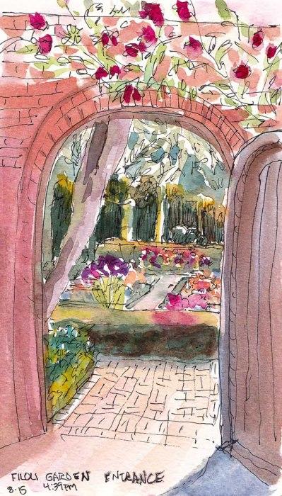 Filoli Garden Door,  ink and watercolor, 7x5 in