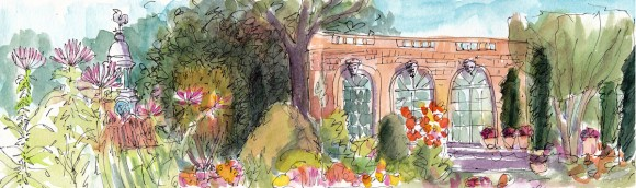 Filoli Garden Panorama, ink and watercolor, 5x7 in