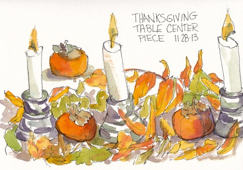 Thanksgiving Centerpiece, ink and watercolor, 5x7.5 in