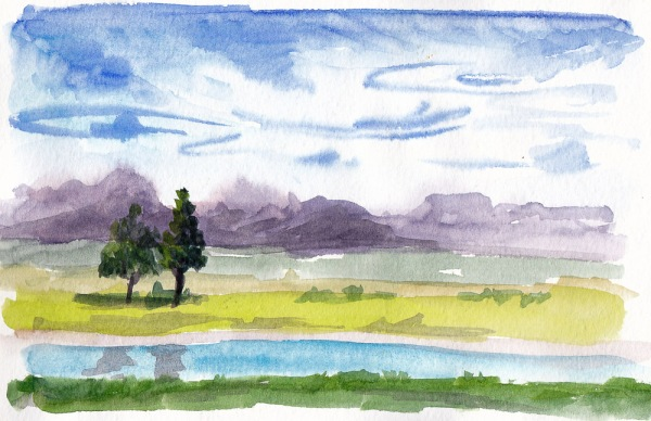 Knox Miller Park Clouds, watercolor, 5x7 in