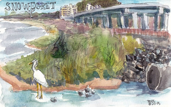 Birdwatching at Albany Bulb 1, ink and watercolor, 5x7 in