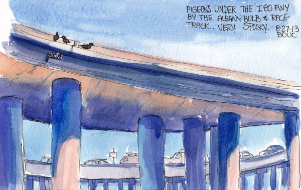 Pigeons on the Freeway, ink and watercolor, 5x7 in