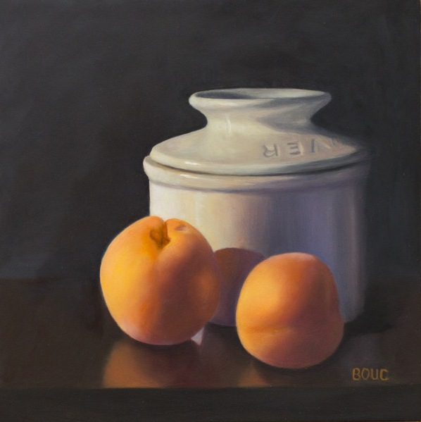 Apricots and Butter Jar, Flemish Method, oil on panel, 10x10 in