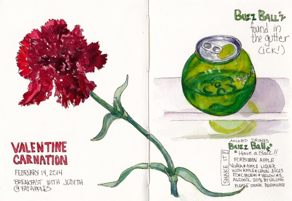 Valentine Carnation and BuzzBallz, ink and watercolor 7.5 by 11 in spread in sketchbook