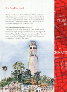 Coit Tower and part of map on facing page. This sketch was made during last summer's West Coast Sketchcrawl