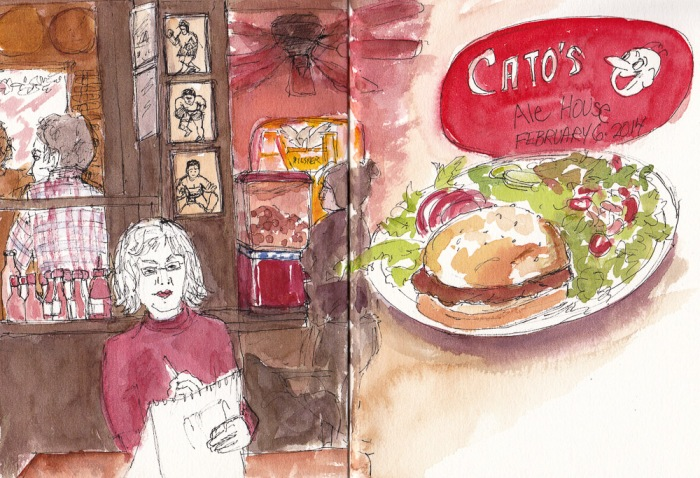 Catos Ale House, ink and watercolor 7.5x10 in