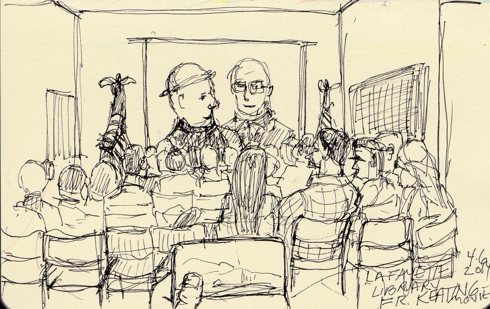 Sketch during Father Keating movie, ink in pocket Moleskine