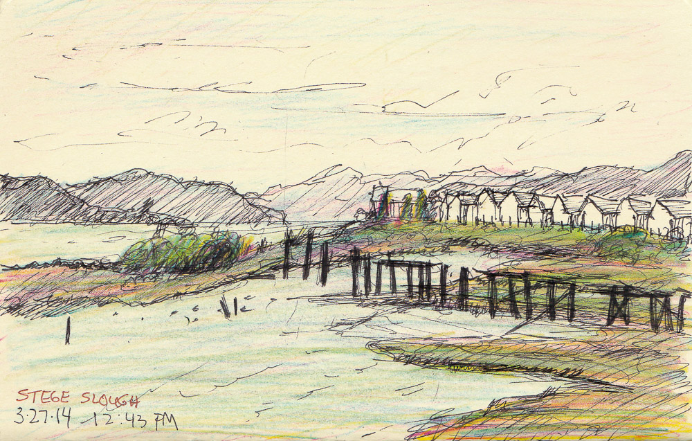 Stege Marsh, ink and colored pencils in pocket Moleskine