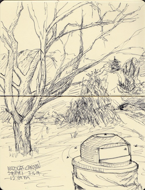 Wildcat Canyon trail trash can, ink in pocket Moleskine notebook