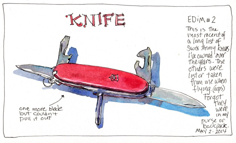 EDiM 2014 #2 Knife, ink and watercolor 5.5x7.5 in