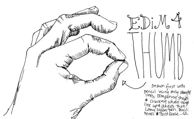 EDiM #4 Thumb, ink, 5x7 in