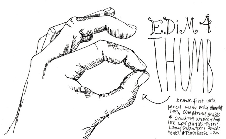 EDiM #4 Thumb, ink, 5x7 in
