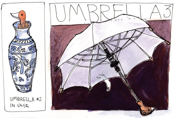EDiM 3, Duck Umbrella, ink & watercolor, 5x7.5""