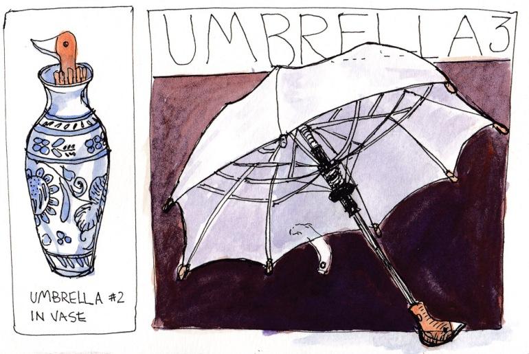 "EDiM 3, Duck Umbrella, ink & watercolor, 5x7.5"""
