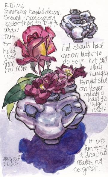 EDiM 6-Relic: 3-hole vase and roses #1, ink and watercolor 7x5 in