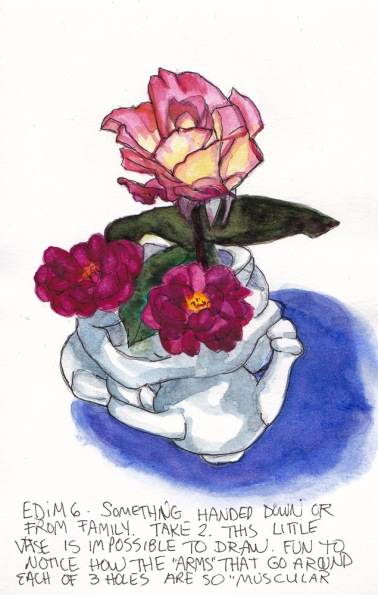 EDiM 6-Relic: 3-hole vase and roses #2, ink and watercolor 7x5 in