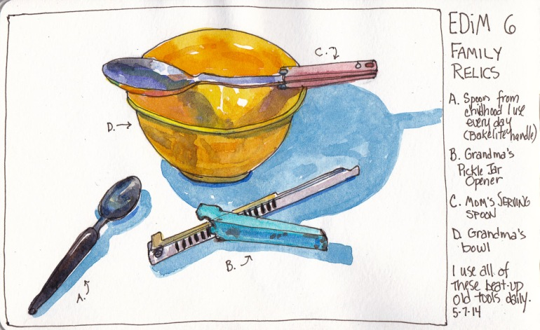 """EDiM 6-Relic: From Ma and Grandma's Kitchen, ink and watercolor 5x7"""""""