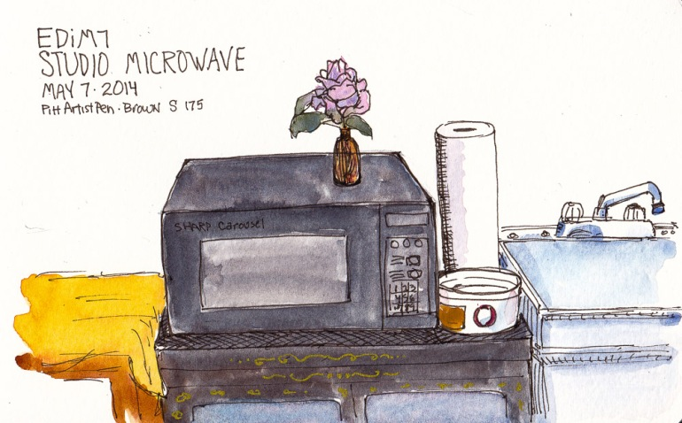 EDiM7-Microwave in the studio beside the sink, ink and watercolor 5x7 in