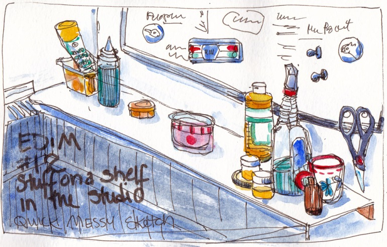 EDiM 12 Shelf and stuff on it by studio sink, ink & watercolor 5x7 in