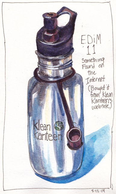 EDiM 11 Water Bottle Found on Internet, ink & watercolor, 7.5x 5 in