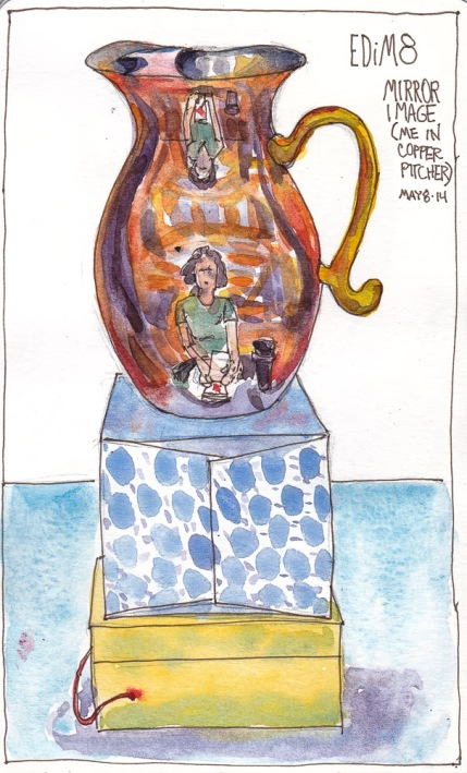 EDiM 8 Mirror Image in Copper Pitcher, ink and watercolor, 7.5x 5 inches