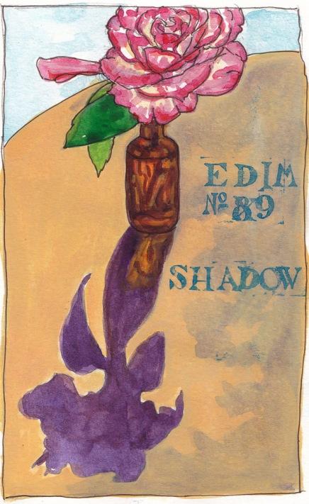 EDiM 9 Mirror Image in Copper Pitcher, ink, watercolor, gouache, 7.5x5 in