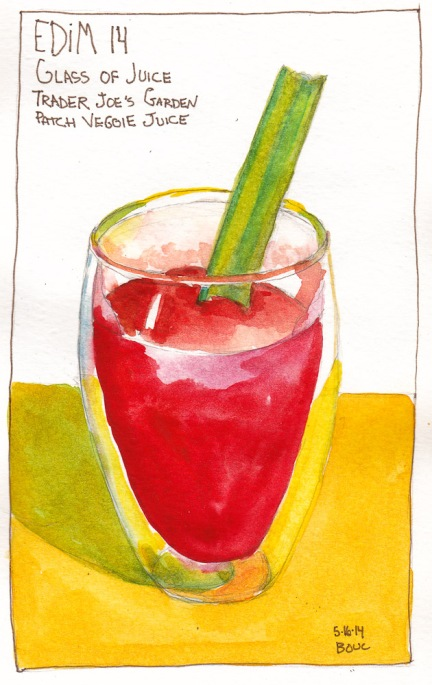 EDiM 14 Glass of Juice. Ink and watercolor, 7x5 in