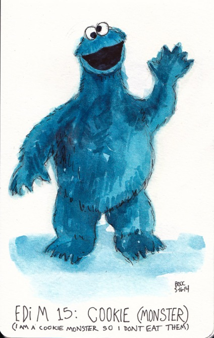 EDiM 15 Cookie (Monster), ink and watercolor, 7x5 in