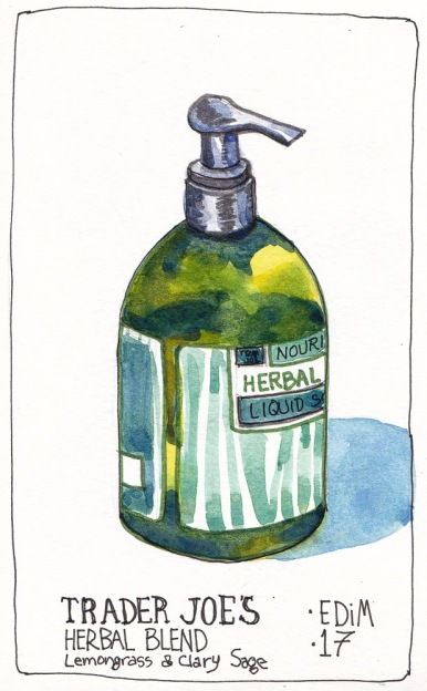 EDiM 17 Hand soap, ink and watercolor, 7x5 in