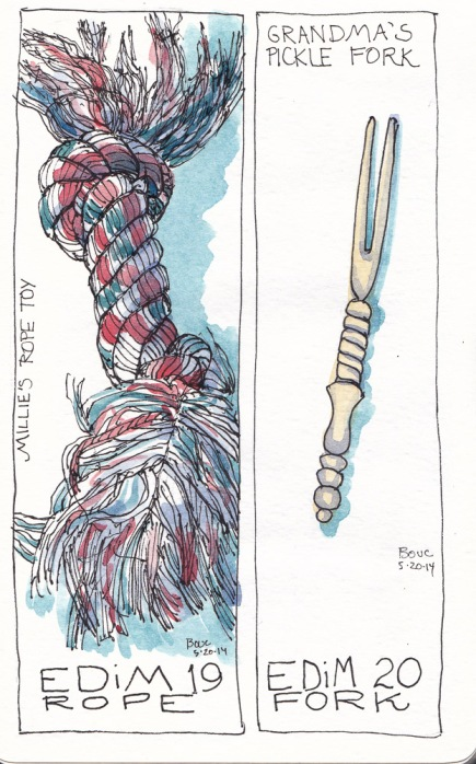 EDiM 19-20: Dog Rope and Grandma's Pickle Fork, ink and watercolor, 7x5 in