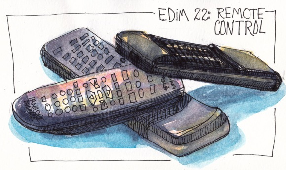 EDim 22 Remote Control, ink and watercolor, 5x7 in