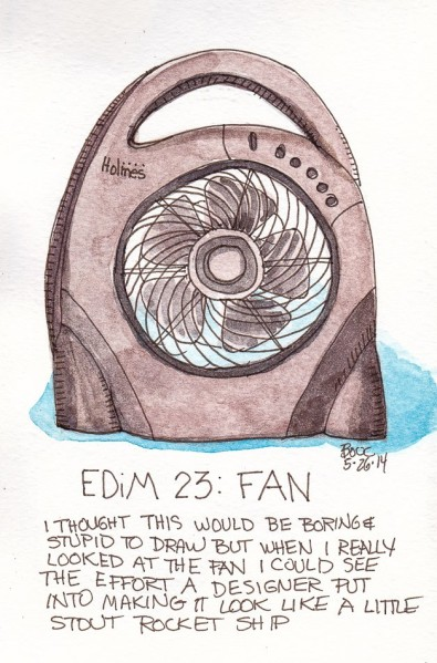 EDim 23 Fan, ink and watercolor, 5x7 in