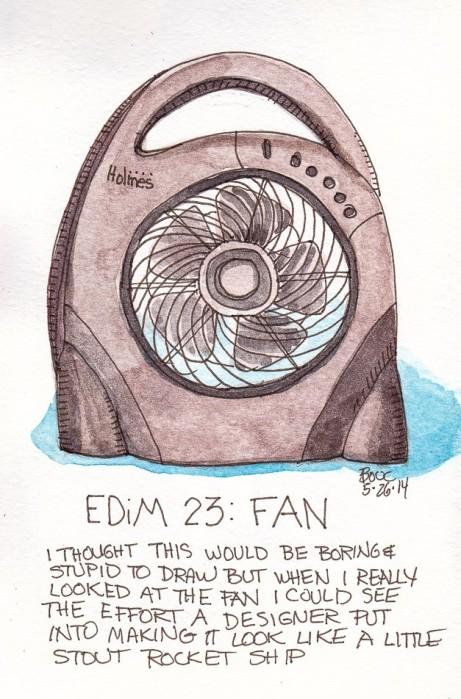 EDim 23 Fan, ink and watercolor, 5x7 in
