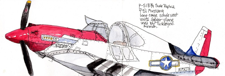 P-51 Mustang. Ink and watercolor, 5x15 inches