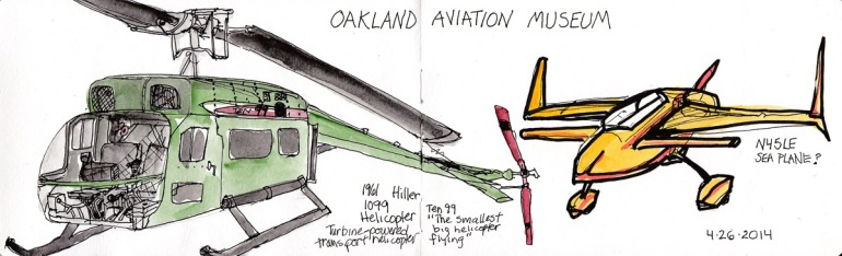 Hiller 1099 Helicopter and N45LE Plane. Ink and watercolor, 5x15.