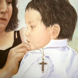 Little Alex at his baptism, Watercolor (Sold)