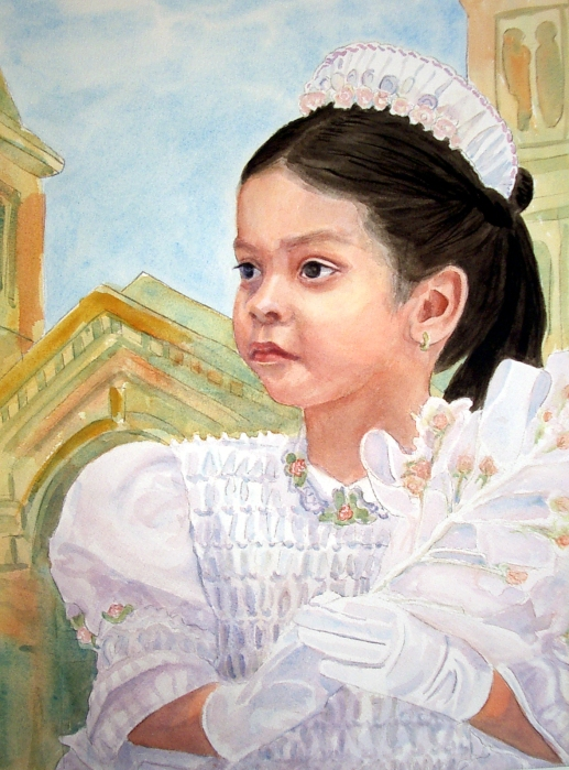 Yessie at her brother's baptism when she was just little, watercolor