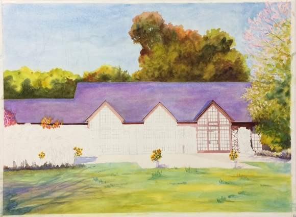 Brazillian Room, Tilden Park, WIP Watercolor, 22 x 30 in
