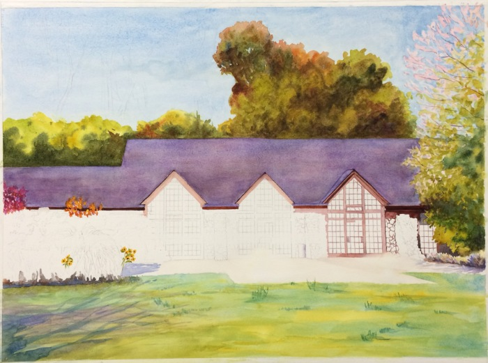 Brazillian Room, Tilden Park, WIP Watercolor, 22 x 30 in