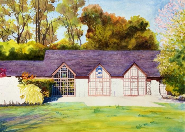 Brazillian Room, Tilden Park, WIP # 2, Watercolor, 22 x 30 in