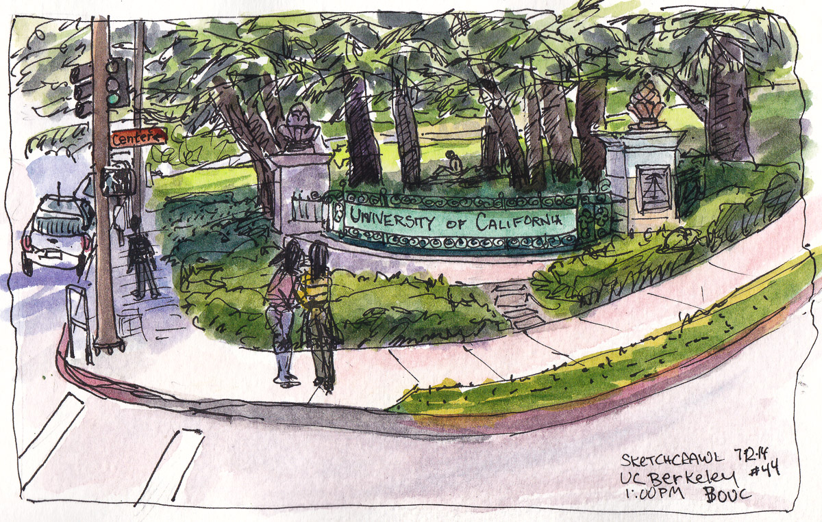 UC Berkeley Center Street Entrance, ink and watercolor, 5x8 in