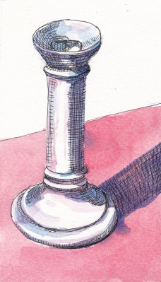 White Candlestick, ink and watercolor, 8x5 in