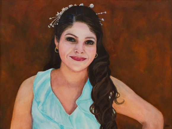 Yessie's Quinceanera Portrait, Watercolor, 15x20 in