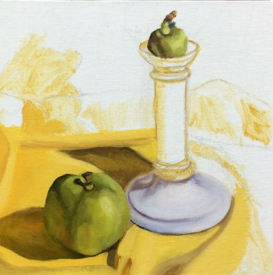 Candlestick and Apples, WIP 2