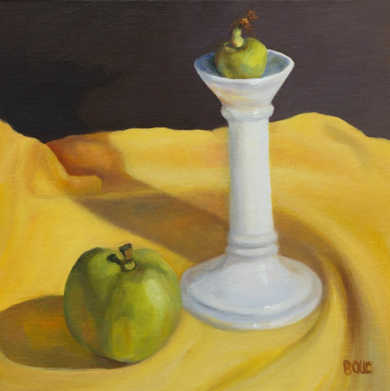 "Found on the Street #1, Candlestick and Apples, oil painting on panel, 8x8"" (<a href=""http://www.dailypaintworks.com/fineart/jana-bouc/candlestick-and-apples-found-on-the-street-1/253915"">$110 at my DPW Gallery: click here</a>) (Click image to enlarge)"