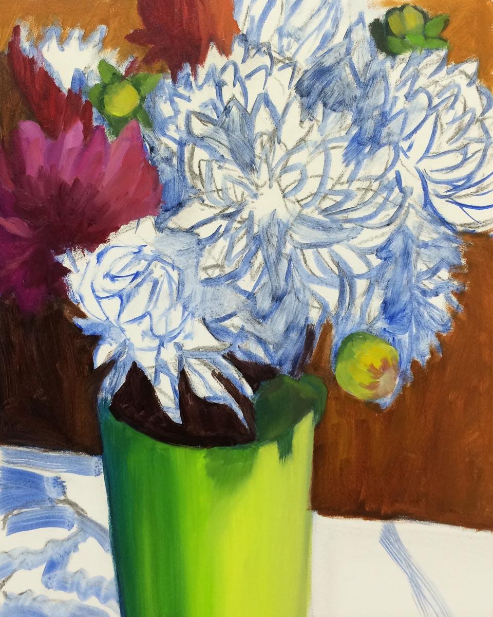 Dahlias-Shower Flowers WIP2, oil on panel, 10x8 in
