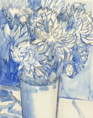 Dahlias-Shower Flowers WIP1, oil on panel, 10x8 in