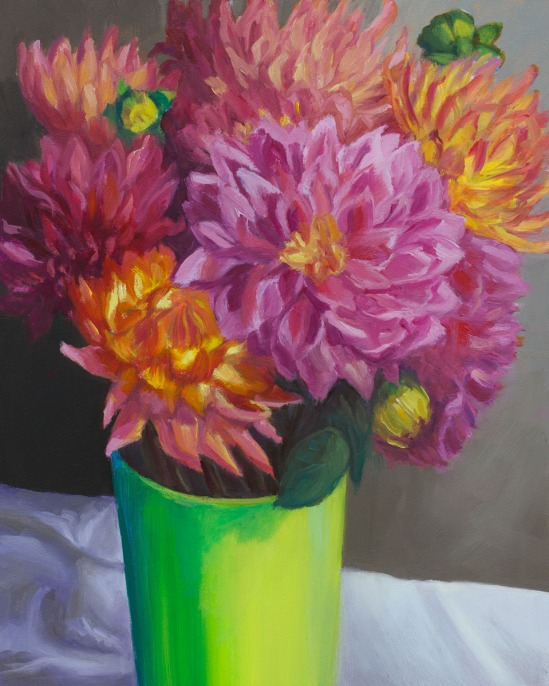 Dahlias-Shower Flowers, oil on panel, 10x8 in