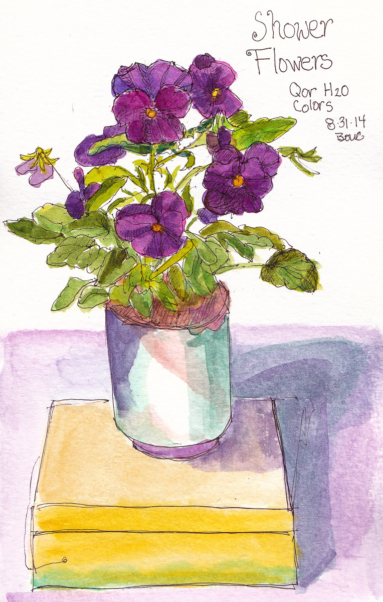 """More Shower Flowers: Pansies, ink and watercolor, 8x5"""""""